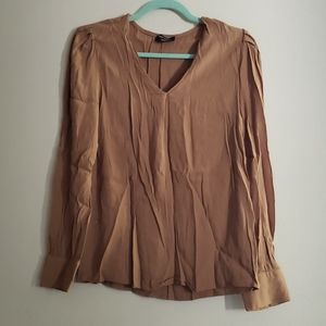Lord & Taylor Brown VNECK Blouse